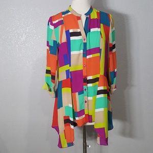 SPENSE Colorful Geometric Button Down Blouse